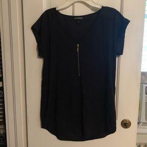 Express Tops - Express silky quarter zip short sleeve shirt